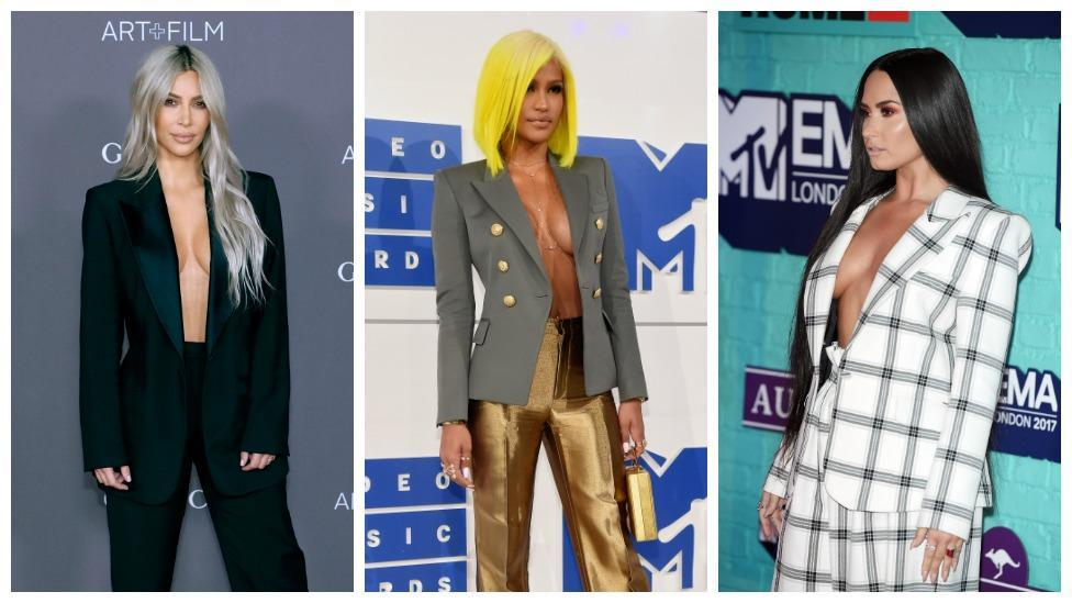 <p>The blazer-with-no-bra look is now a thing</p>