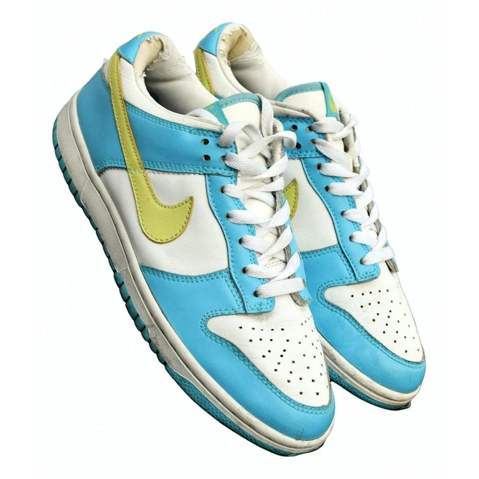 "<br><br><strong>Nike</strong> SB Dunk Leather Trainers, $, available at <a href=""https://www.vestiairecollective.com/women-shoes/trainers/nike/turquoise-leather-sb-dunk-nike-trainers-13673424.shtml"" rel=""nofollow noopener"" target=""_blank"" data-ylk=""slk:Vestiaire Collective"" class=""link rapid-noclick-resp"">Vestiaire Collective</a>"