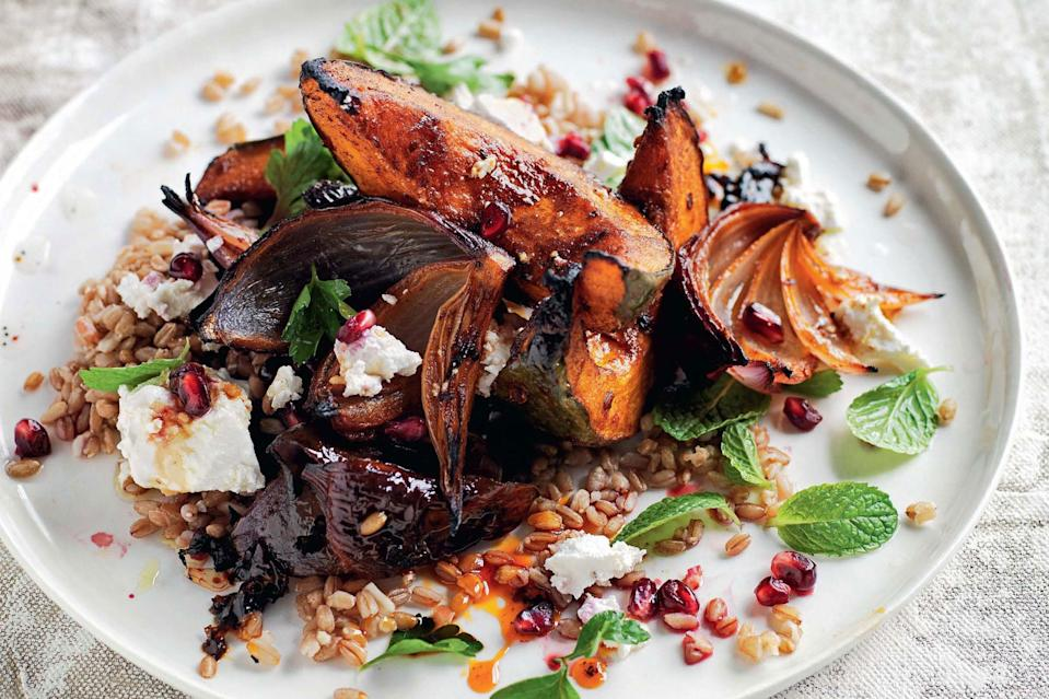 "This fall grain salad combines spelt with smoky roasted kabocha squash and a sweet pomegranate molasses glaze. <a href=""https://www.epicurious.com/recipes/food/views/smoky-pumpkin-spelt-pomegranate-and-feta-salad?mbid=synd_yahoo_rss"" rel=""nofollow noopener"" target=""_blank"" data-ylk=""slk:See recipe."" class=""link rapid-noclick-resp"">See recipe.</a>"