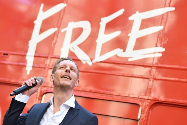 Laurence Fox at the unveiling of his 'Free London' battle bus