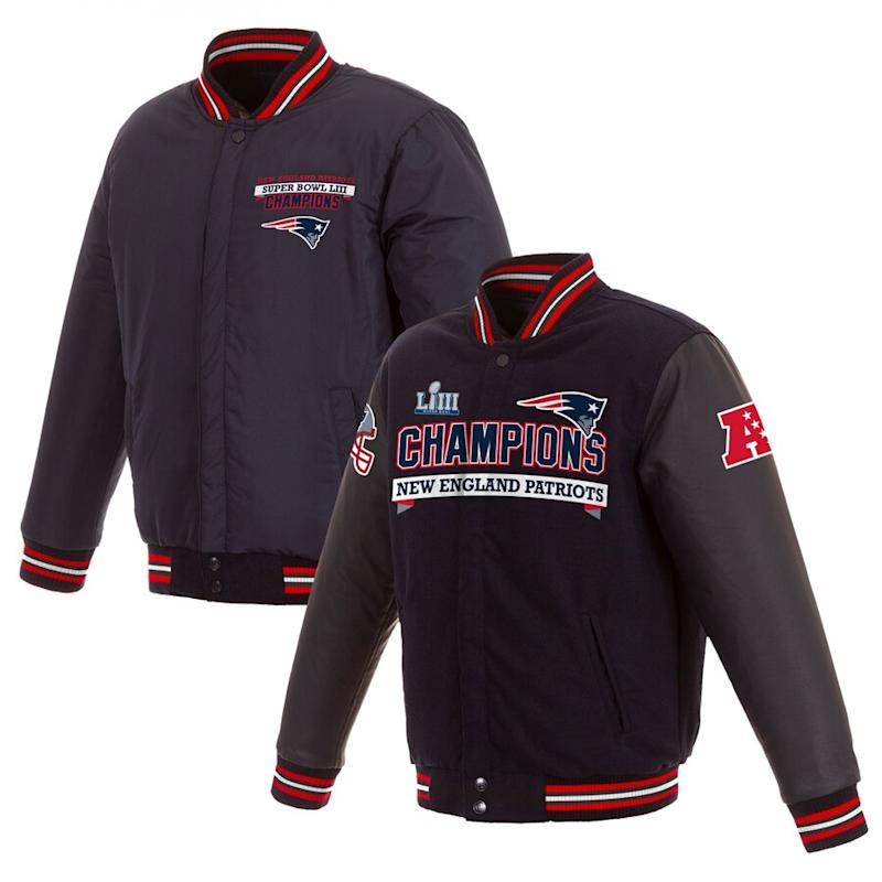 Men's New England Patriots 6-Time Super Bowl Champions Full-Snap Jacket
