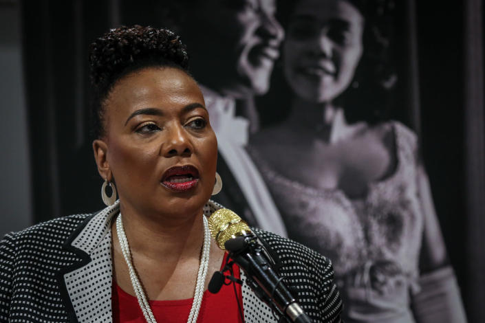 """FILE - In this Jan. 9, 2020 file photo, Bernice King, daughter of slain civil rights leader Rev. Martin Luther King Jr., speaks about a series of events to be held in and around The King Center in Atlanta. The annual celebration of the Martin Luther King Jr. holiday in his hometown in Atlanta is calling for renewed dedication to nonviolence following a turbulent year. The slain civil rights leader's daughter said in an online church service Monday, Jan. 18, 2021, that physical violence and hateful speech are """"out of control"""" in the aftermath of a divisive election followed by a deadly siege on the U.S. Capitol in Washington by supporters of President Donald Trump.(AP Photo/ Ron Harris, File)"""