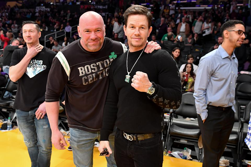 LOS ANGELES, CALIFORNIA - FEBRUARY 23: Dana White (L) and Mark Wahlberg attend a basketball game between the Los Angeles Lakers and the Boston Celtics at Staples Center on February 23, 2020 in Los Angeles, California. (Photo by Allen Berezovsky/Getty Images)