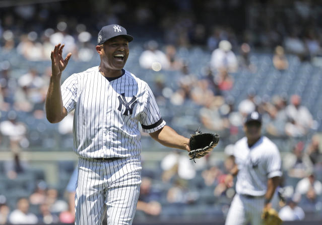 Former New York Yankees player Mariano Rivera reacts after pitching during the Old Timers' Day game at Yankee Stadium, Sunday, June 23, 2019, in New York. (AP Photo/Seth Wenig)