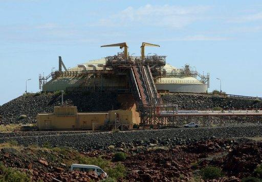 This file photo shows a liquid natural gas (LNG) gas storage tank, pictured at the Woodside operated North West Shelf Gas Venture near Karratha, in the north of Western Australia in 2008. Most of the country's conventional gas resources sit off the north-west coast and are being progressively developed for domestic use and LNG export