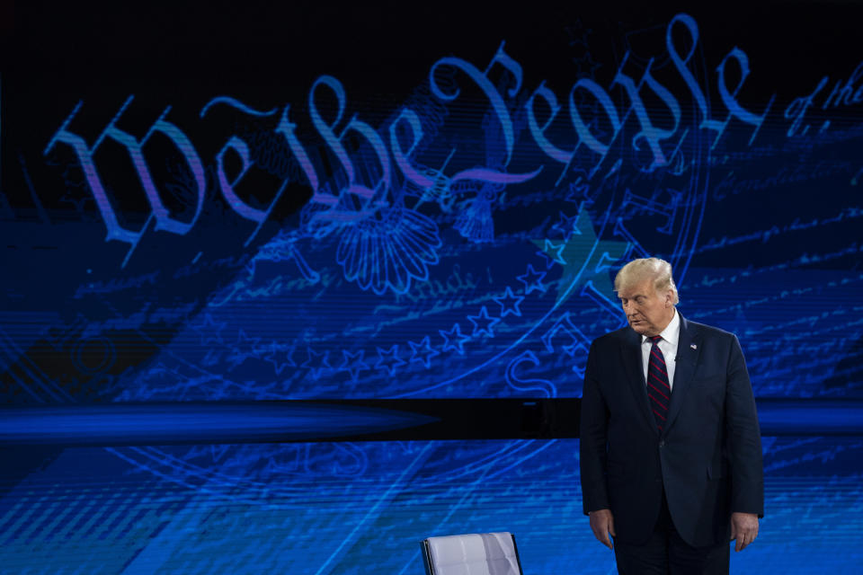 President Donald Trump arrives for an ABC News town hall at National Constitution Center, Tuesday, Sept. 15, 2020, in Philadelphia. (AP Photo/Evan Vucci)