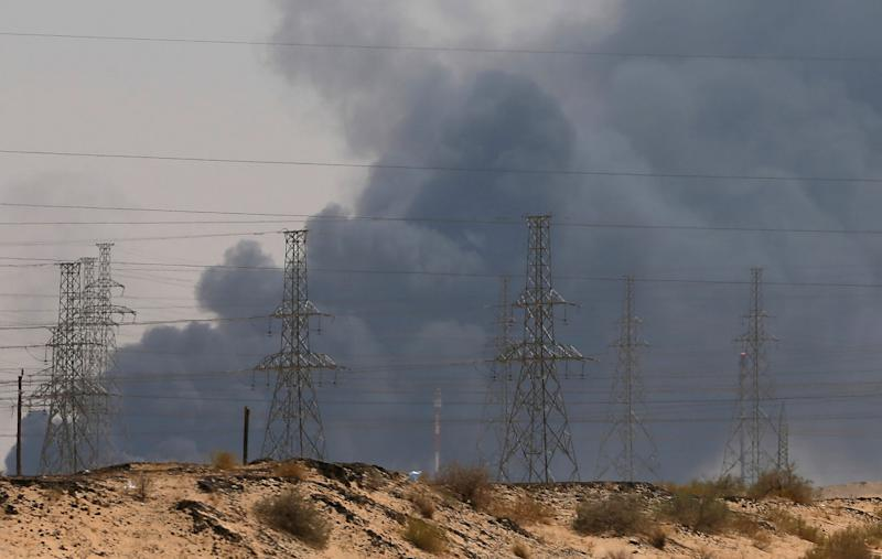 Smoke billows after a fire at an Aramco factory in Abqaiq, Saudi Arabia on September 14. Courtesy: REUTERS/Stringer