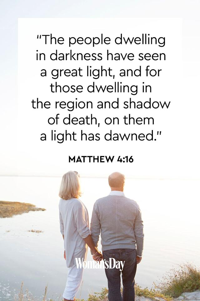 """<p>""""The people dwelling in darkness have seen a great light, and for those dwelling in the region and shadow of death, on them a light has dawned.""""</p><p><strong>The Good News: </strong>The """"great light"""" of Jesus illuminates the darkest places of the human soul and shines forth even through our experience of death.</p>"""
