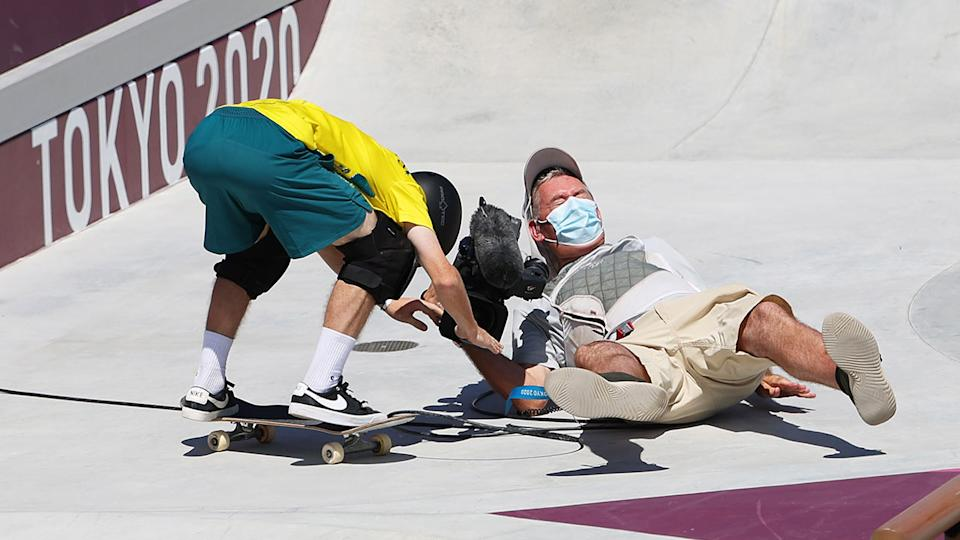 Kieran Woolley is seen here after crashing into a cameraman in the preliminary rounds.