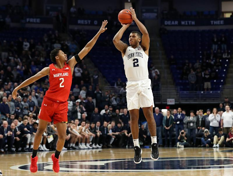 Dec 10, 2019; University Park, PA, USA; Penn State Nittany Lions guard Myles Dread (2) shoots the ball as Maryland Terrapins guard Aaron Wiggins (2) defends during the first half at Bryce Jordan Center. Mandatory Credit: Matthew O'Haren-USA TODAY Sports