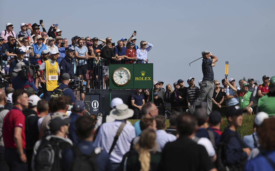 United States' Bryson DeChambeau play his tee shot at the 3rd during the first round British Open Golf Championship at Royal St George's golf course Sandwich, England, Thursday, July 15, 2021. (AP Photo/Ian Walton)