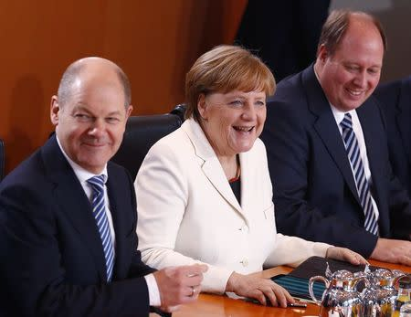 Merkel heads the first cabinet meeting after being re-elected as German chancellor in Berlin