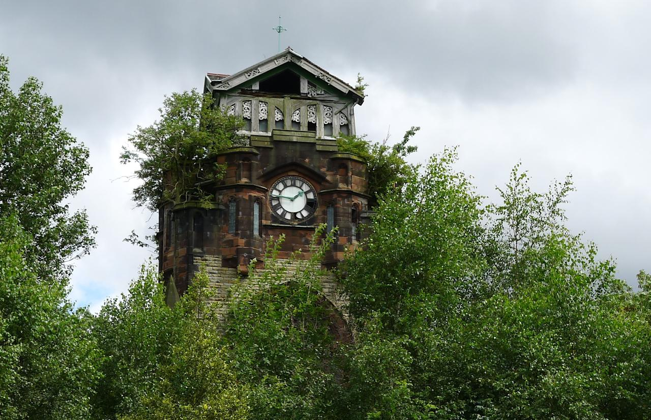 Agecroft cemetery chapel, Salford: This Grade II-listed gothic-style mortuary chapel, which was abandoned in the 1980s and now has walls creeping with ivy, has no immediate modern-day use. (Mike Barnes/The Victorian Society)