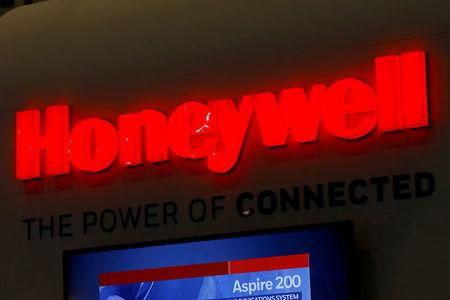 A logo of Honeywell is pictured on their booth during EBACE in Geneva