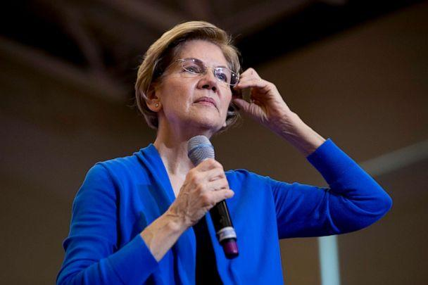 PHOTO: Democratic presidential candidate Sen. Elizabeth Warren pauses as she takes a question from a member of the audience at a campaign stop at Nashua Community College, Feb. 5, 2020, in Nashua, N.H. (Andrew Harnik/AP)