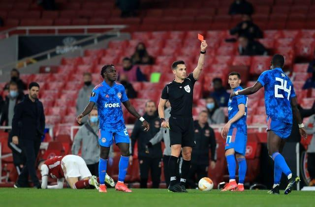 Olympiacos' hopes were ended when Ousseynou Ba was sent off