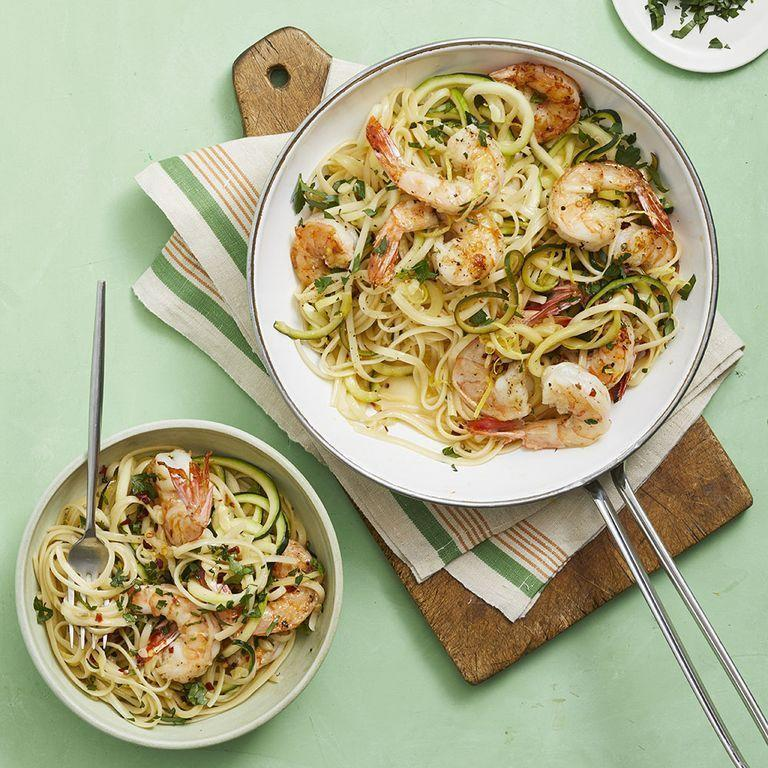 """<p>Another Italian classic reimagined, the zucchini linguine in this scampi blends into the pan sauce perfectly. You can play with the pasta to zucchini ratio — or leave pasta out entirely!</p><p><em><a href=""""https://www.womansday.com/food-recipes/food-drinks/a28353403/shrimp-scampi-with-zoodles-recipe/"""" rel=""""nofollow noopener"""" target=""""_blank"""" data-ylk=""""slk:Get the recipe from Woman's Day »"""" class=""""link rapid-noclick-resp"""">Get the recipe from Woman's Day »</a></em></p>"""
