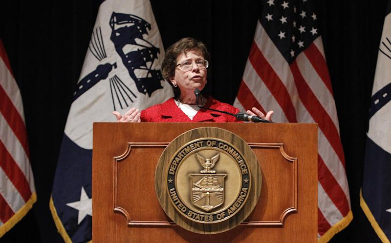 Acting Commerce Secretary Rebecca Blank speaks during a news conference in Washington, Wednesday, Feb. 13, 2013, to give an update on President Barack Obama's Cybersecurity policy. Warning that American companies are the target of an intensive cyber-espionage campaign, President Barack Obama's top security officials on Wednesday said they are struggling to defend the nation from attacks on its private computer networks and called on Congress to pass legislation that would close regulatory gaps. (AP Photo/Ann Heisenfelt)
