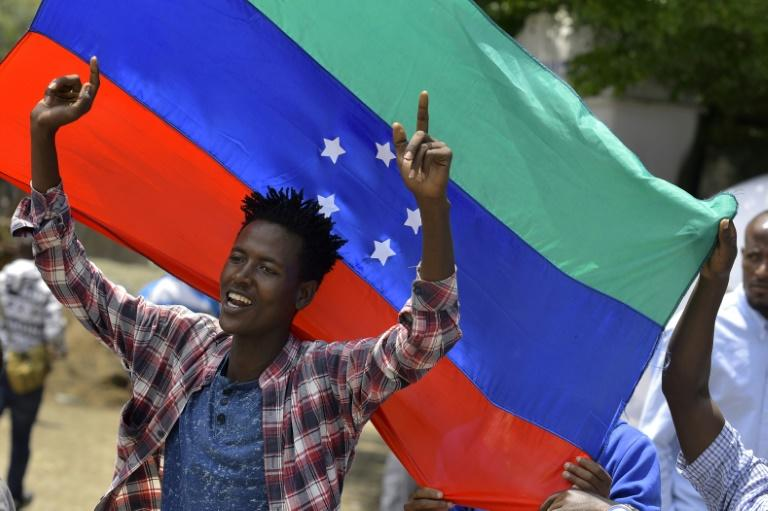 The green, blue and red flag is the symbol of the planned federal state (AFP Photo/Michael TEWELDE)