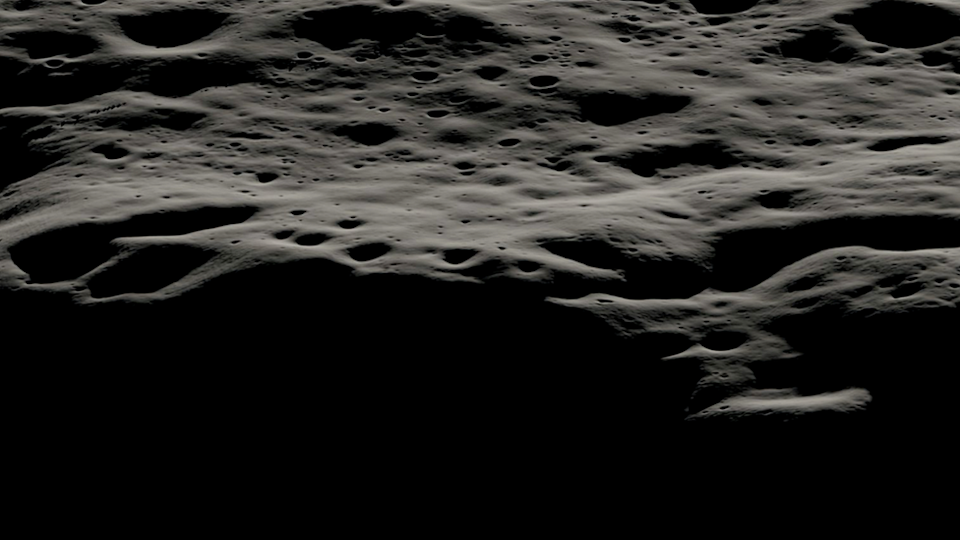 A data visualization showing the mountainous area west of Nobile Crater and the smaller craters that litter its rim