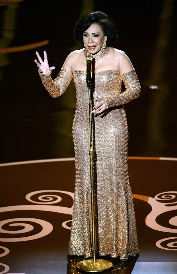 HOLLYWOOD, CA - FEBRUARY 24:  Singer Shirley Bassey performs onstage during the Oscars held at the Dolby Theatre on February 24, 2013 in Hollywood, California.  (Photo by Kevin Winter/Getty Images)