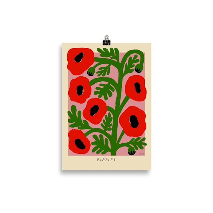 """The print that started it all. I love how the flowers appear to be so happy that they're nearly bursting out of the frame. $40, Madelen Möllard. <a href=""""https://madelenmollard-shop.com/collections/prints/products/poppies?variant=37211863744674"""" rel=""""nofollow noopener"""" target=""""_blank"""" data-ylk=""""slk:Get it now!"""" class=""""link rapid-noclick-resp"""">Get it now!</a>"""