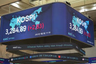 A huge screen shows the Korea Composite Stock Price Index (KOSPI) at the Korea Exchange in Seoul, South Korea, Friday, July 2, 2021. Shares were mostly higher in Asia on Friday, though markets in Shanghai and Hong Kong declined a day after the Chinese Communist Party marked its centenary with tough talk by Chinese President Xi Jinping. (AP Photo/Lee Jin-man)