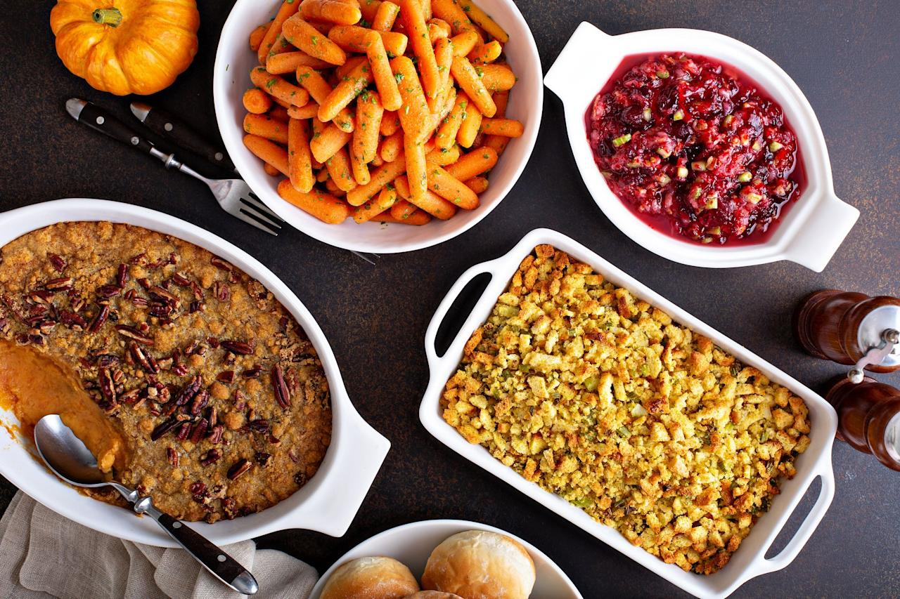 """<p>When it comes to <a href=""""https://www.countryliving.com/food-drinks/g637/thanksgiving-menus/"""">Thanksgiving dinner</a>, the side dishes are really just as important as your <a href=""""https://www.countryliving.com/food-drinks/g1365/turkey-recipes/"""">perfectly roasted turkey</a>. (In fact, some might say they're even more important!) There's always so much hype surrounding the annual feast, so you want to make sure the dinner you're hosting features the absolute best plates possible. Each one of these Thanksgiving side dishes will absolutely impress your guests. This list is filled with all your turkey day favorites that have been upgraded with the tastiest flavors. There are plenty of <a href=""""https://www.countryliving.com/food-drinks/g1050/simple-potato-recipes-1110/"""">potato recipes</a> on this list, including roasted garlic mashed potatoes and a potato and celery-root gratin. For the veggie lovers, you'll enjoy a number of dishes on this roundup, especially the Brussels sprouts with bacon, dates, and halloumi, the maple glazed carrots with goat cheese and pistachios, and the creamed spinach and mushrooms in white wine sauce. (How heavenly do those all sound?!) Once you start scrolling through this list, you're going to wish Thanksgiving came around more than once per year. (Although any one of these dishes would also be a great addition to your <a href=""""https://www.countryliving.com/food-drinks/g635/holiday-recipe-book-1108/"""">Christmas dinner menu</a>). It's just a good thing there are (almost) always tons of leftovers after Thanksgiving dinner—because you'll want to eat every one of these sides again and again.<br></p>"""