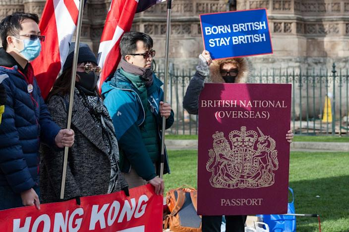 A group of Hong Kong citizens protest outside Houses of Parliament in London against the limited rights of British overseas passport holders in Hong Kong on January 29, 2020.