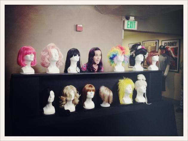Celebrity photos: Katy Perry is known for her outrageous style, but we didn't know she had quite so many wigs. The singer tweeted this funny picture of her with her collection, which we reckon might even rival Nick Minaj's! Copyright [Katy Perry]
