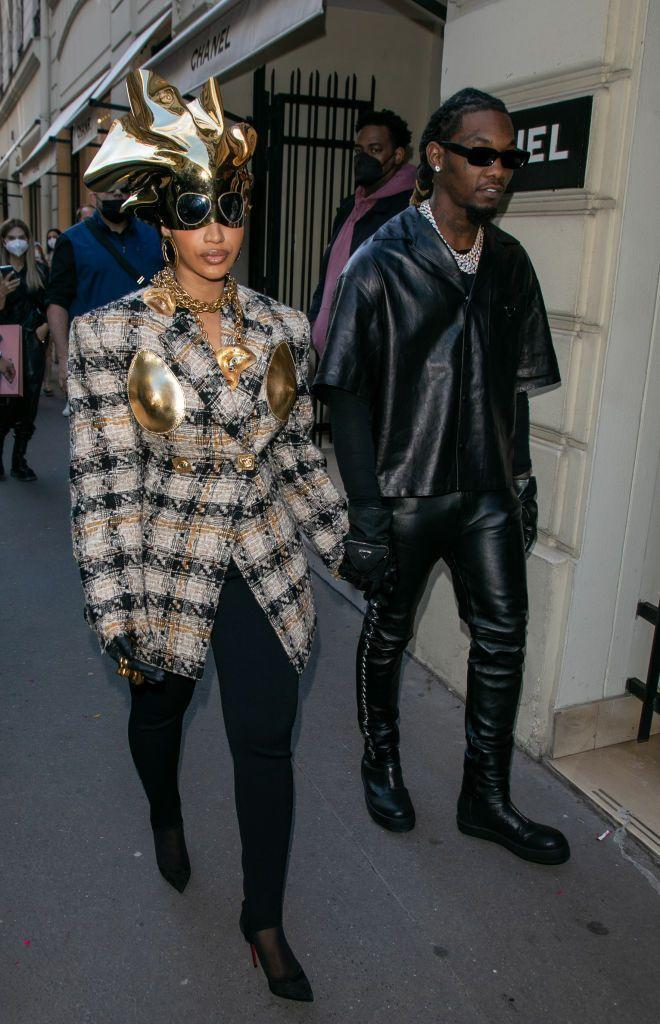 <p>To kick off her time in Paris the new mother wore a bold Schiaparelli look. </p>