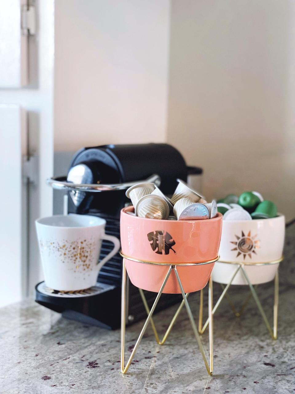 <p>I can't survive a day without my morning coffee, and the <span>Disney Princess X POPSUGAR Moana Planters</span> ($25 for three) are perfect for holding Nespresso capsules. I can put a different blend in each pot to keep them separated.</p>
