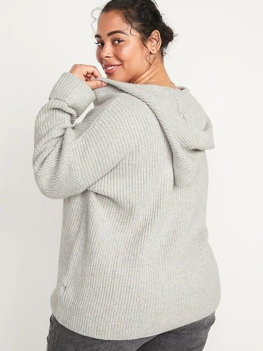 <p>In the front, both the gray and ivy versions of this <span>Old Navy Textured Tunic Sweater Hoodie</span> ($45) have a deep V, but we're only got eyes for that hood in the back.</p>