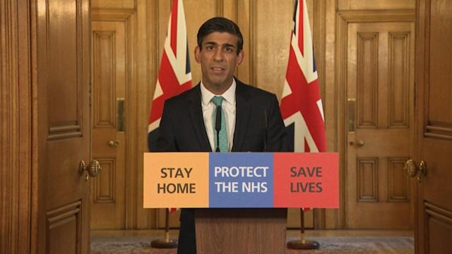 Chancellor Rishi Sunak speaks during a media briefing in Downing Street, London, on coronavirus (COVID-19). (PA Video/PA Images via Getty Images)