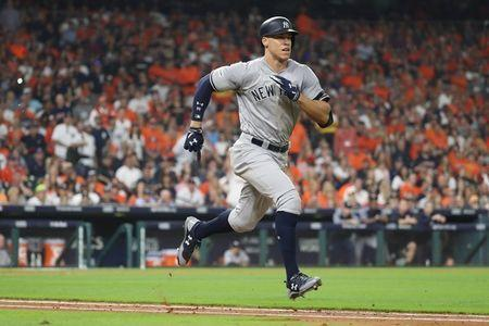 FILE PHOTO: Oct 21, 2017; Houston, TX, USA; New York Yankees right fielder Aaron Judge (99) grounds out in the fourth inning during game seven of the 2017 ALCS playoff baseball series against the Houston Astros at Minute Maid Park. Thomas B. Shea-USA TODAY Sports