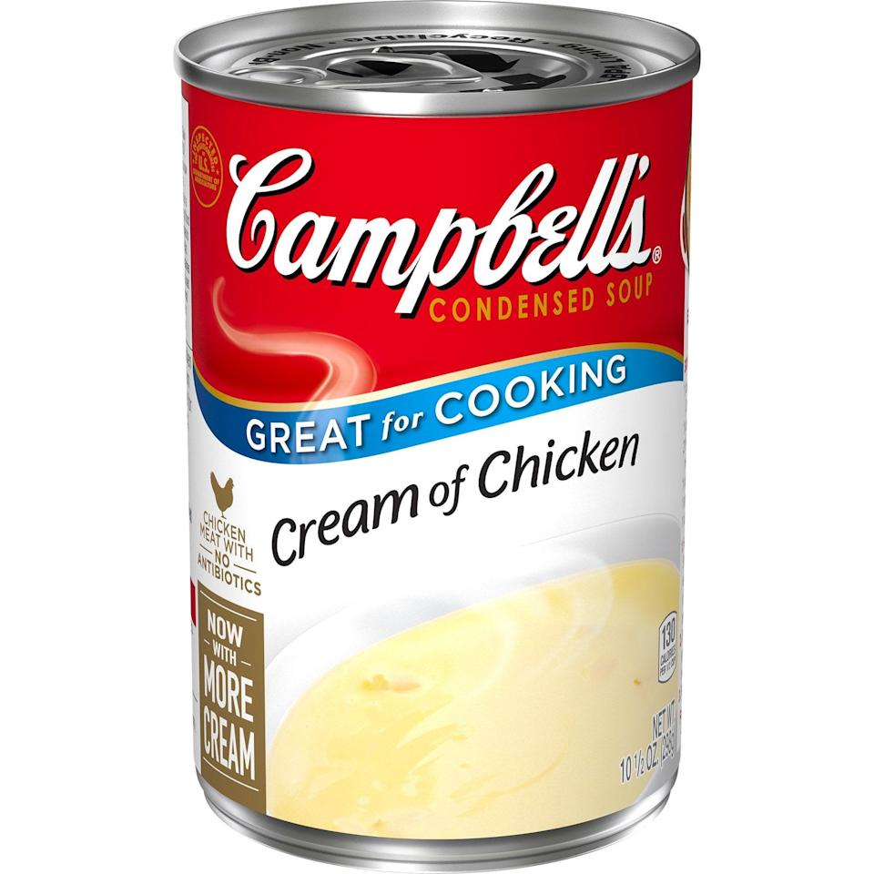<p>If you're looking for protein, this hearty <span>Campbell's Condensed Cream of Chicken Soup</span> ($1) is only 130 calories.</p>