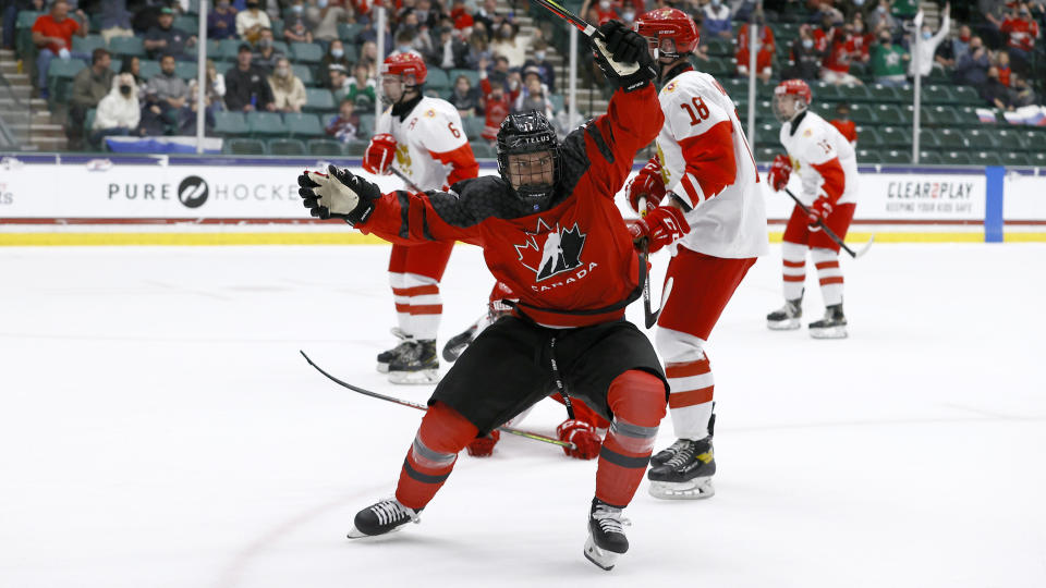 FRISCO, TEXAS - MAY 06: Connor Bedard #17 of Canada reacts after scoring a goal against Sergei Ivanov #29 of Russia in the first period during the 2021 IIHF Ice Hockey U18 World Championship Gold Medal Game at Comerica Center on May 06, 2021 in Frisco, Texas. (Photo by Tom Pennington/Getty Images)