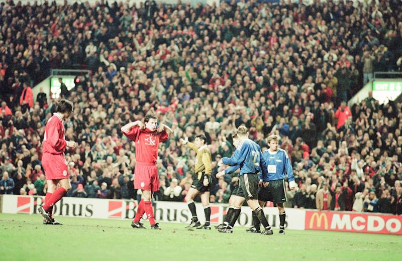Liverpool v SK Brann Bergen, European Cup Winners Cup Quarterfinal 2nd leg match at Anfield, 20th March 1997. Liverpool striker, Robbie Fowler, displays t shirt in support of Liverpool Dockers' Strike. Final Score, Liverpool. (Photo by Andrew Teebay/Mirrorpix/Getty Images)