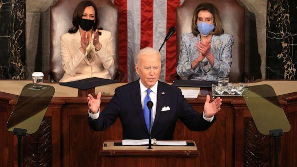 PHOTO: President Joe Biden addresses a joint session of congress as Vice President Kamala Harris and Speaker of the House Rep. Nancy Pelosi watch in the House chamber of the U.S. Capitol, April 28, 2021, in Washington. (Chip Somodevilla/Getty Images)