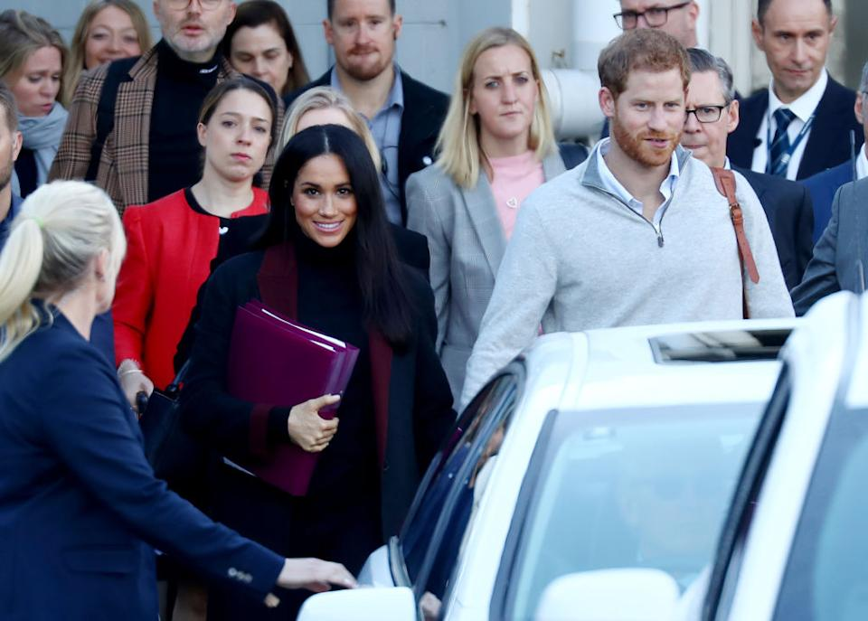 The Duke of Sussex was also spotted in the cashmere zip-up upon arrival into Sydney [Photo: Getty]