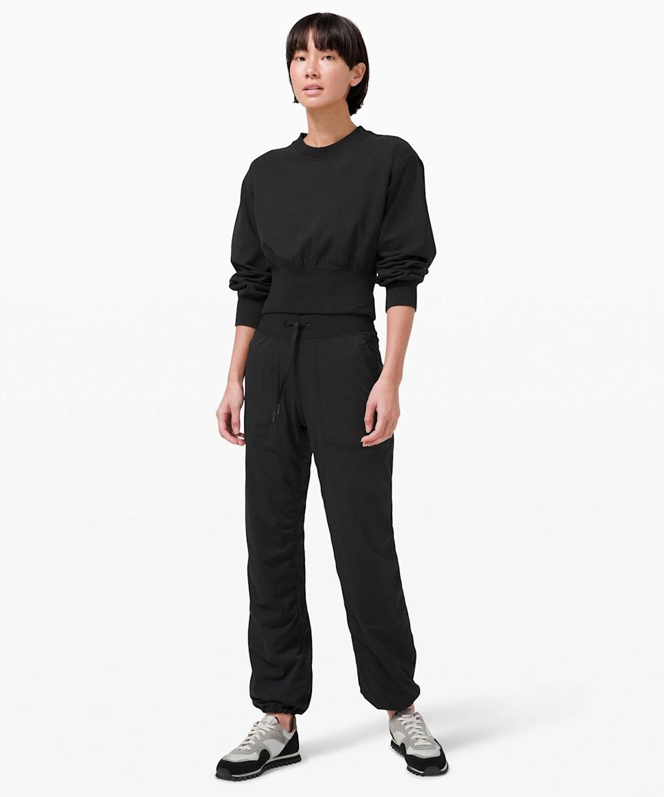 <p>This <span>Lululemon Ribbed Contoured-Waist Crew</span> ($98) and <span>Keep Moving High Rise Full Length Pant</span> ($118) is a flattering, functional take on a classic black sweatsuit.</p>