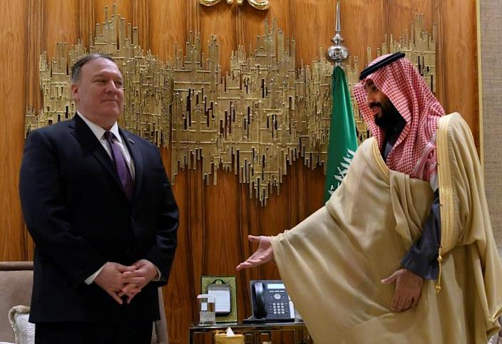 US Secretary of State Mike Pompeo meets in February 2020 with Saudi Arabia's Crown Prince Mohammed bin Salman, who ha cultivated close relations with US President Donald Trump