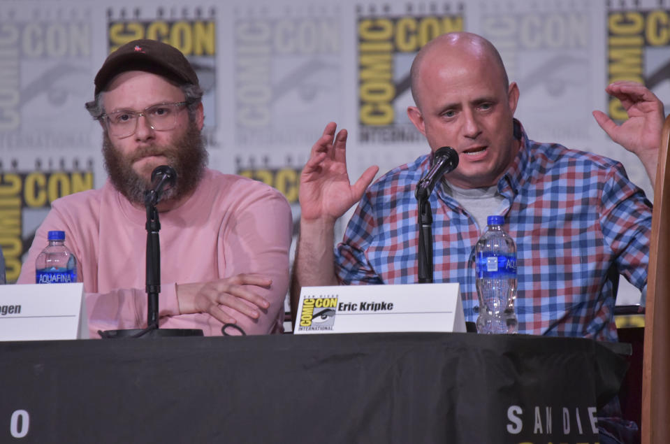 """Seth Rogen and Eric Kripke participate in """"The Boys"""" panel on day two of Comic-Con in July 2019. (Photo by Richard Shotwell/Invision/AP)"""