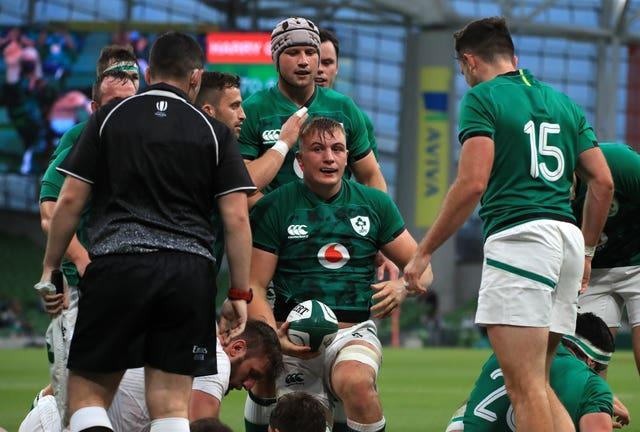 Ireland's Gavin Coombes, centre, was among the try scorers in Dublin