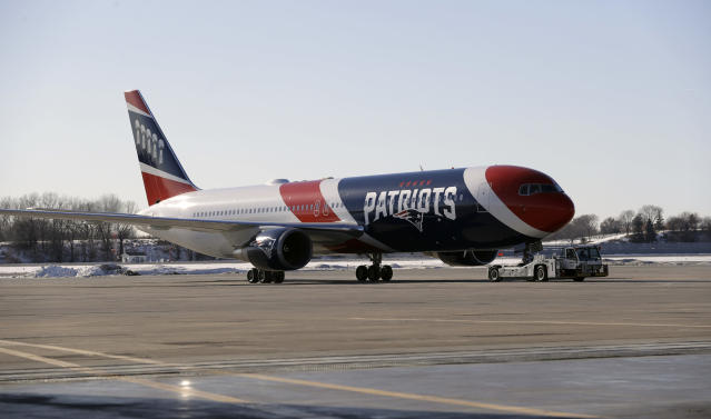 The New England Patriots' team plane arrives for the NFL Super Bowl 52 football game Monday, Jan. 29, 2018, in Minneapolis. New England is scheduled to face the Philadelphia Eagles Sunday. (AP Photo/Eric Gay)