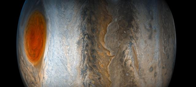 <p>Jupiter's Great Red Spot fades from view while the dynamic bands of the southern region of Jupiter come into focus, in this image taken July 10, 2017 from the JunoCam imager on NASA's Juno spacecraft. North is to the left of the image, and south is on the right. (Photo: NASA/JPL-Caltech/SwRI/MSSS/Gerald Eichstadt/Sean Doran/Handout via Reuters) </p>
