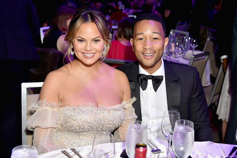 Chrissy Teigen (not Chrissy Legend) and John Legend at a pre-Grammy gala on Jan. 27.  (Mike Coppola via Getty Images)