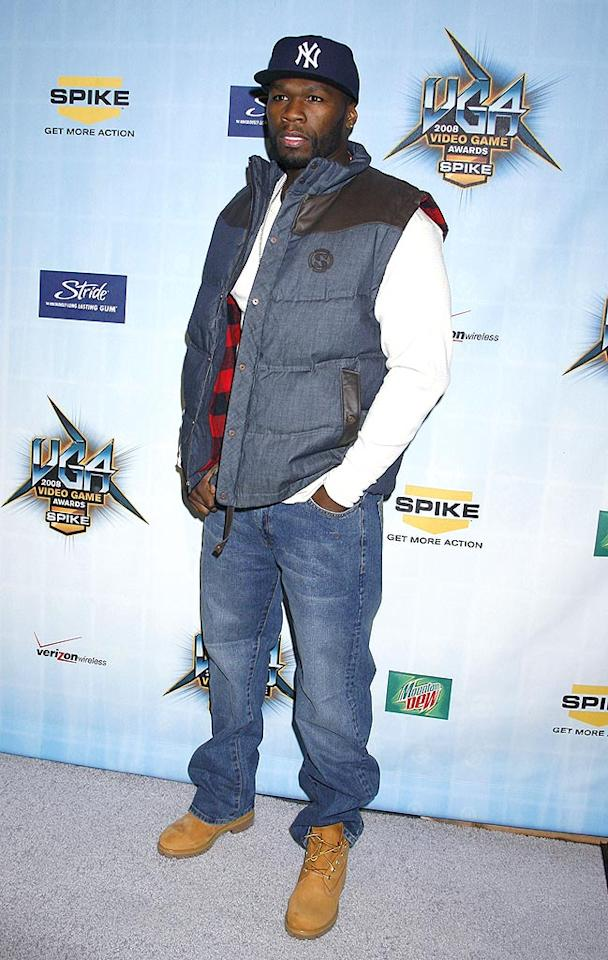 """50 Cent was super casual upon arriving at the Spike TV Video Game Awards in Culver City, California. The rapper, who performed at the show, also has his own game called Blood in the Sand. Jeffrey Mayer/<a href=""""http://www.wireimage.com"""" target=""""new"""">WireImage.com</a> - December 14, 2008"""