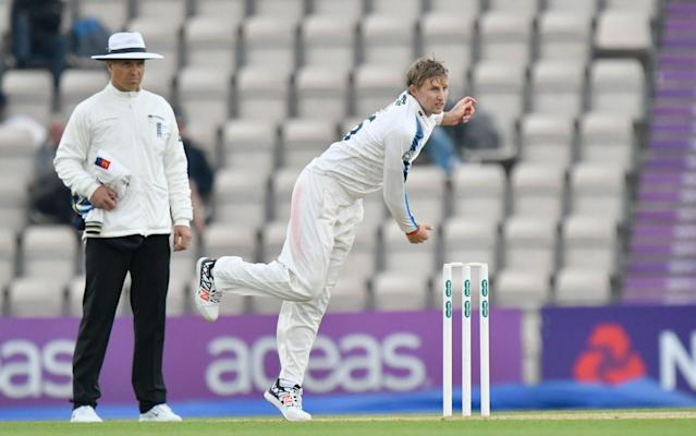 <span>Joe Root had a quiet day, sending down four overs of spin</span> <span>Credit: rex </span>