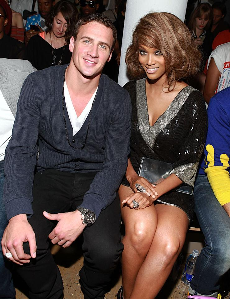 Does anyone even remember how many Olympic swimming medals Ryan Lochte won in London? The aspiring designer rubbed elbows with Tyra Banks at the Jeremy Scott show. Think he has what it takes to make it in the fashion industry? (9/12/12)